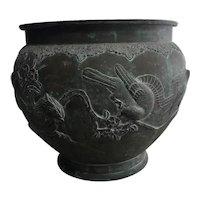 Late 19th Century Antique Japanese Meiji Period Bronze Jardiniere