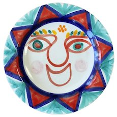 Vintage DeSimone Italian Pottery Smiling Sun Plate