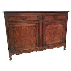 Early 20th Century French Louis XV Style Carved Oak and Walnut Sideboard Buffet
