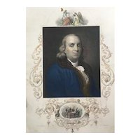 19th Century Ben Franklin Hand-Colored Engraving Print