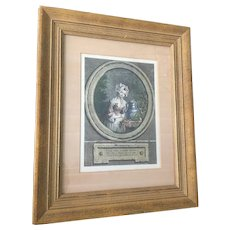 Antique French Framed Colored Engraving