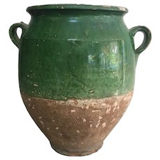 19th Century French Green Glaze Confit Pot