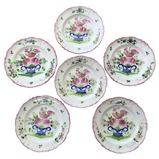 Set Antique French Faience Earthenware Rooster Plates