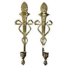 Vintage Virginia Metalcrafters / Harvin Brass Ribbon Torch Sconces