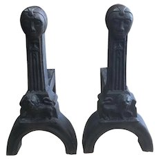 Pair Early 20th Century Figural Cast Iron Andirons