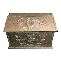 Antique English Brass Firewood Chest / Kindling Box