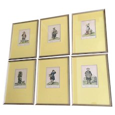 Vintage Framed Viennese Costume Prints - Set of 6