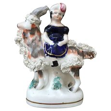 19th Century Staffordshire Pottery Princess and Goat Figure