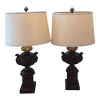 19th Century Carved Wooden and Gilt Bronze Architectural Element Lamps With Shade - a Pair