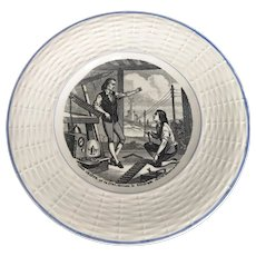 Vintage Digoin & Sarreguemines CLAUDE CHAPPE Transferware Plate