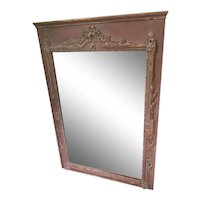 Vintage French Painted Gilt Trumeau Mirror