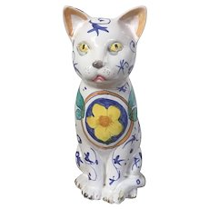 Vintage Italian Faience Glazed Terra Cotta Cat Figure
