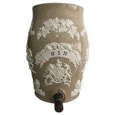 19th Century English Salt Glaze Stoneware Gin Spirits Barrel