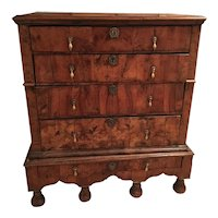 18th Century English William and Mary Burled Walnut Veneer Chest on Stand