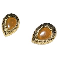 Monet Brown and Goldtone Clip on Earrings