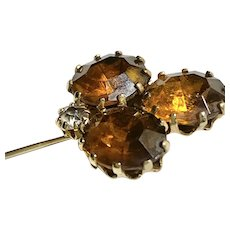 Golden Brown and Goldtone Stick Pin