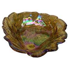 Amber Carnival Glass Bowl