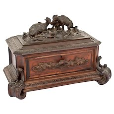 19th Century black forest jewelry box with mountain goats