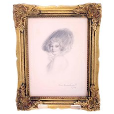 Vintage 1940 pencil drawing by Bror Kronstrand-framed and ready to hang (Weight: 384g)