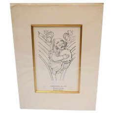 Michael Robson engraving 'Tambourine Circa 1330' Minstrel Carving Beverley Minster No. 82/300