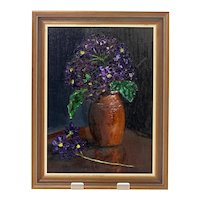 Leona Oppenheimer oil on board 'Purple Flowers' painting-framed and ready to hang (Weight: 552g)
