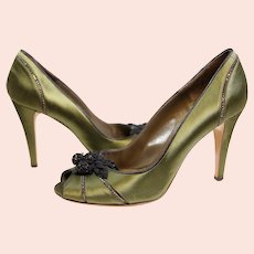 Valentino Garavani ladies green satin covered leather peep-toe shoes-EU 39-UK 6