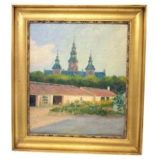 19th Century Danish oil on canvas painting of Rosenborg Castle in Copenhagen (Weight: 1.065kg)
