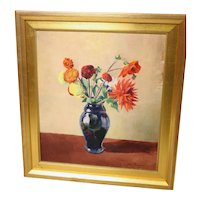 John Broberg oil on board flowers picture signed and dated 1936-framed and ready to hang