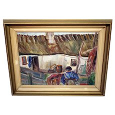 Vintage Swedish oil on board painting-framed and ready to hang