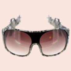 Vintage Linda Farrow Projects Jeremy Scott JS Army 4 military style shield sunglasses-BNIB