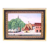 Alfred Andersson 19th Century oil painting Halmstad Port Bankside (Weight: 480g)