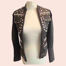 All Saints ladies vintage brown leather 'Rock Shirt' jacket-Size XS-UK 6- EU 34