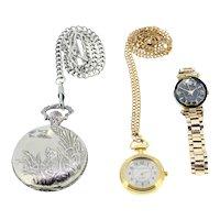 Vintage ladies watch bundle-Louifrey pocket watch with chain-Pierre Nicol pocket watch with chain-Pierre Nicol wristwatch