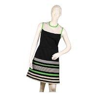 Vintage 1960s ladies vintage green and white striped patterned dress-UK 12-EU 40