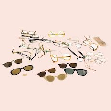Vintage mixed bundle of eyewear items all over 50 years old-broken and spare parts included