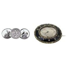Ladies brooch bundle-Victorian mourning brooch and Belgian coins brooch