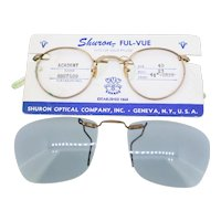 Shuron Ful-Vue Academy eyeglasses frame with dark grey unbranded clip-on attachment