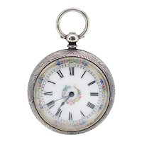 Jones & Co ladies antique Victorian enamel fob watch with engraved detail and original case (Weight: 55.3g)