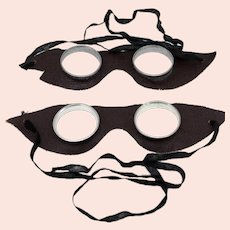 Vintage unisex leather and metal goggles-one size-2 goggles included-over 60 years old