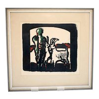 Vintage Scandinavian limited edition art print-No.150/150-signed and dated 1963 (Weight: 644g)