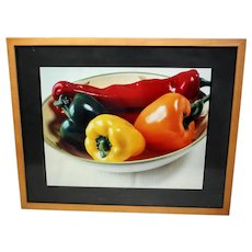 Colour still-life photograph of peppers-framed and glazed and ready to hang (Weight: 2.025kg)