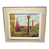 Vintage oil on canvas painting of a Venetian port scene-framed and ready to hang