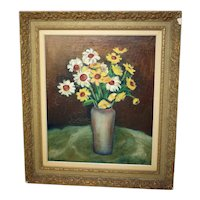 S Sjöstrand 'Sommarblomster' summer flowers oil on canvas painting 1946-signed-framed and ready to hang