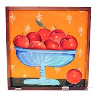 AnnMari Olsson oil painting-bowl of red apples-signed and dated 1979 (Weight: 450g)