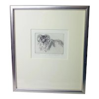 Y Christiansen 'Ram' etching No.117/150-limited edition-framed and glazed-ready to hang