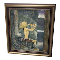 Vintage oil on canvas painting of a woodland boy blowing a horn by 'SB'-created 1933-framed and ready to hang