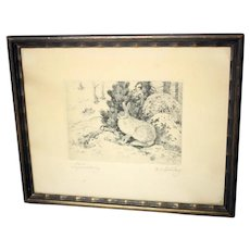Axel Österberg vintage hare etching-created in 1924-framed and ready to hang