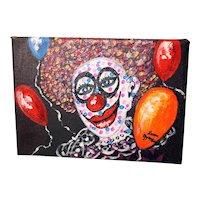 Leona Oppenheimer oil on canvas 'Clown' painting-unframed