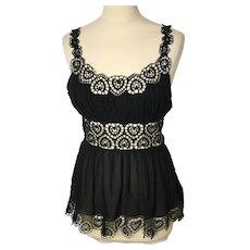 Catherine Malandrino ladies vintage black silk top-UK 6 to 8-EU 34 to 36