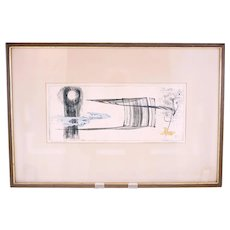 Vintage Swedish hand coloured surrealist etching-framed and glazed and ready to hang (Weight: 1.74kg)